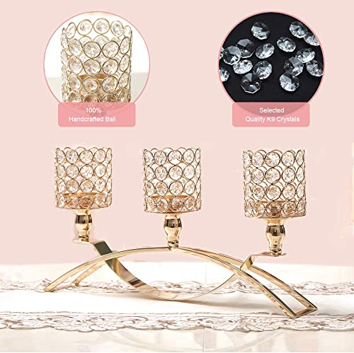 VINCIGANT Gold Crystal 3 Arms Candle Holders Centerpiece