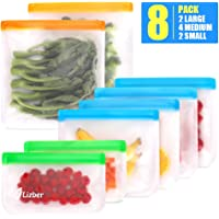 Lizber Reusable Storage Bags 8 Pack, 4 Reusable Sandwich Bags & 2 Reusable Snack Bags & 2 Ziplock Gallon Freezer Bags, BPA Free Heavy Duty Rezip FoodStorageBags Reusable Lunch Snack Bags for Kids