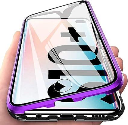 Image of Eabhulie Galaxy S10 Plus Funda, Metal Bumper con Adsorción Magnética + 360 Grados Vidrio Templado Cobertura de Pantalla Completa Carcasa para Samsung Galaxy S10 Plus Púrpura Negro