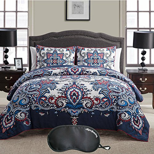 Serena & Lily 3 Piece (VCNY Istanbul Paisley Print 3-Piece KING Size Duvet Cover Set in Navy with Sleep)