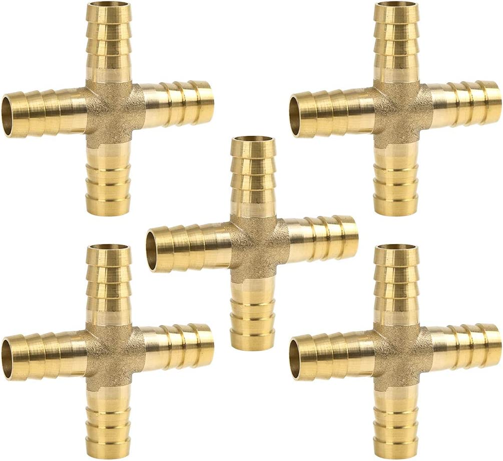 X AUTOHAUX 10mm Brass Hose Barb Fitting Cross 4 Way Connector for Air Water Gas Oil 5pcs