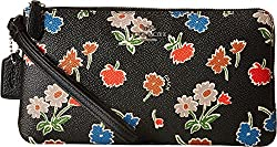 COACH Women's Daisy Floral Print Double Zip Wallet SV/Daisy Field Black Clutch