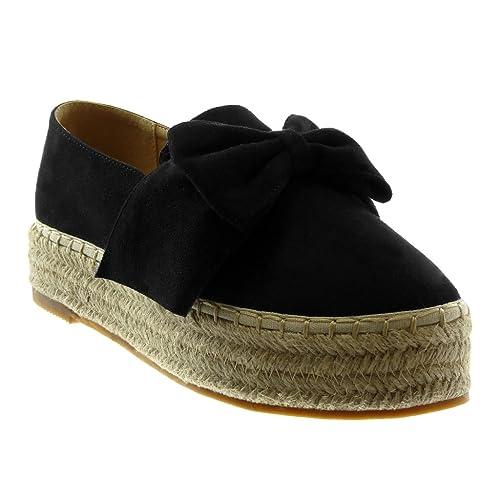 Angkorly - Zapatillas Moda Alpargatas Slip-on Plataforma Mujer Cuerda Trenzado Nodo Plataforma 4 CM: Amazon.es: Zapatos y complementos