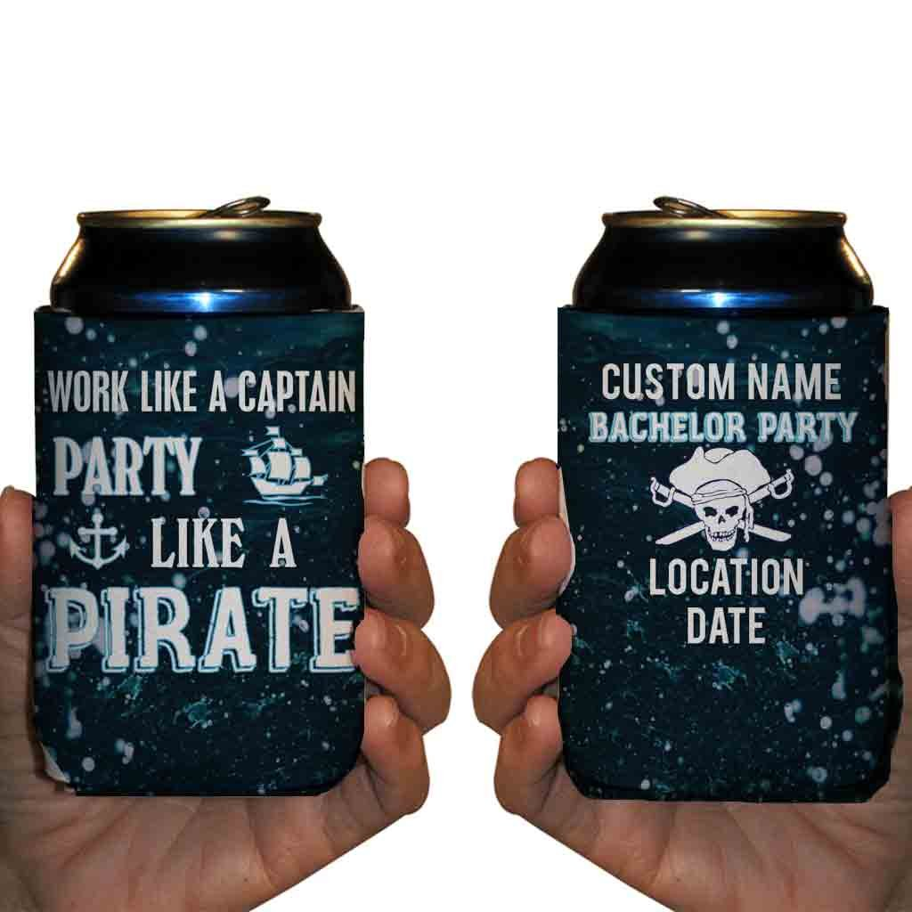 Custom Bachelor Party Can Cooler- Work Like A Captain, Party Like A Pirate (50) by VictoryStore