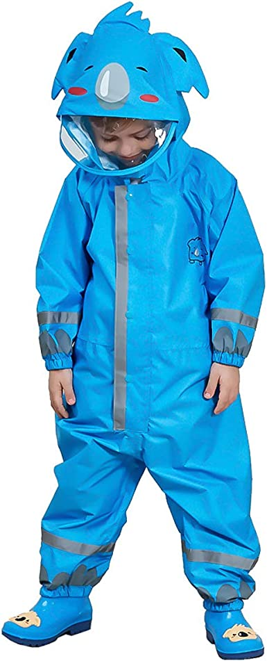 Girls Raincoat Kids One Piece Rain Suit Reflective Toddler Rain Jacket Pink S