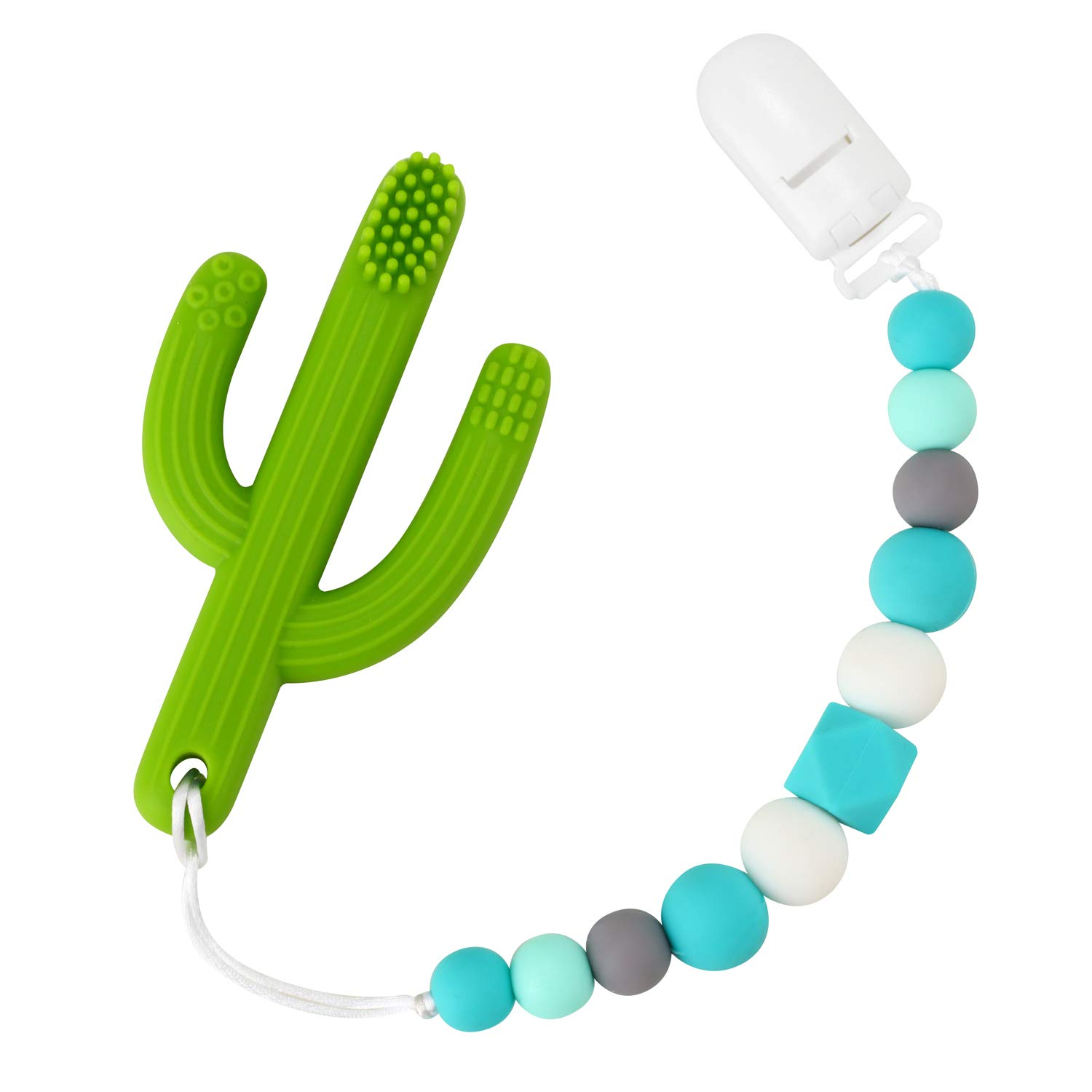 2 Pack Shower Gift Soothie Drool Bibs Silicone Baby Chew Beads Pacifier Clip Teething Relief Teether Toy Mam BPA Free PandaEar Binky Holder for Girls Boys