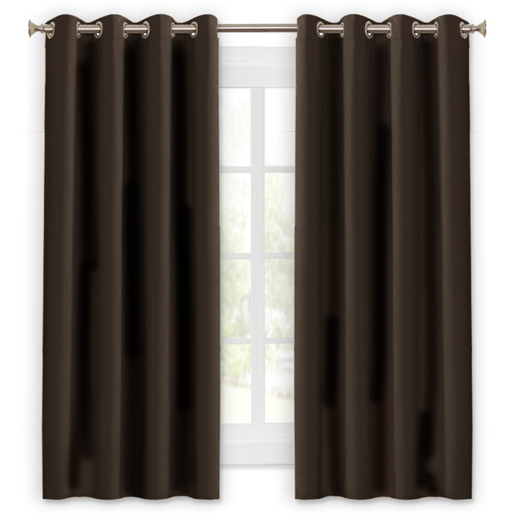 Lefeng Full Blackout Curtains Bedroom Window Dressing Dorm Decor Noise Reduce Sunlight Block Blinds Privacy Protect College/Shift Worker (2 Pieces, Wide 52'' x Long 63'', Brown)