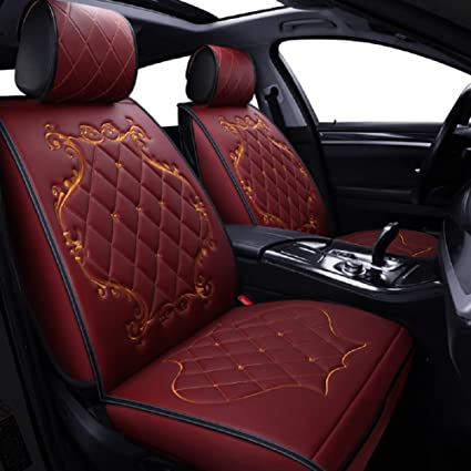 Skysep Crown Car Seat Covers Fully Surrounded Queen Seat Winter Leather Seats Car Pu Leather And 3d Breathable Fabric Red