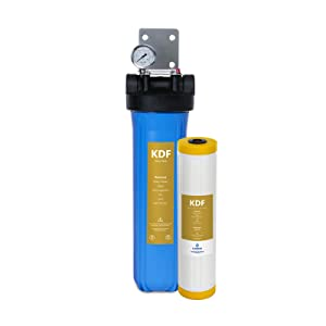 "Express Water Heavy Metal Whole House Water Filter – Home Water Filtration System – KDF Filters – includes Pressure Gauge, Easy Release, and 1"" Inch Connections"