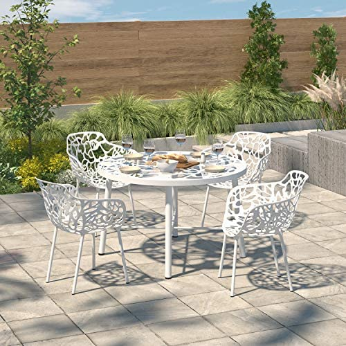 LeisureMod Devon Modern Aluminum Indoor-Outdoor Stackable Side Dining Arm Chair Set of 4 White