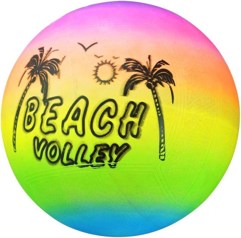 SUPEWOLD Bola de voleibol para playa, diseño de arcoíris iris, material de PVC, bolas hinchables de goma para playa, piscina de verano, voleibol hinchable para niños