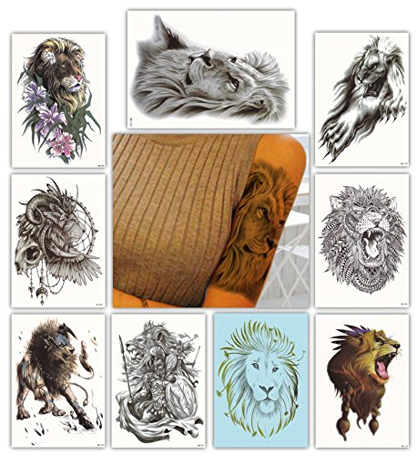 DevilFace Large Temporary tattoos for Men Women, 9 Sheets Fake Tattoo (Lion)