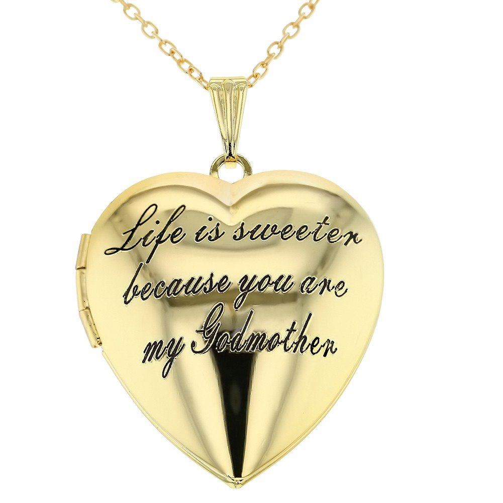 In Season Jewelry Heart Locket Love Godmother Necklace Goddaughter Pendant 19''