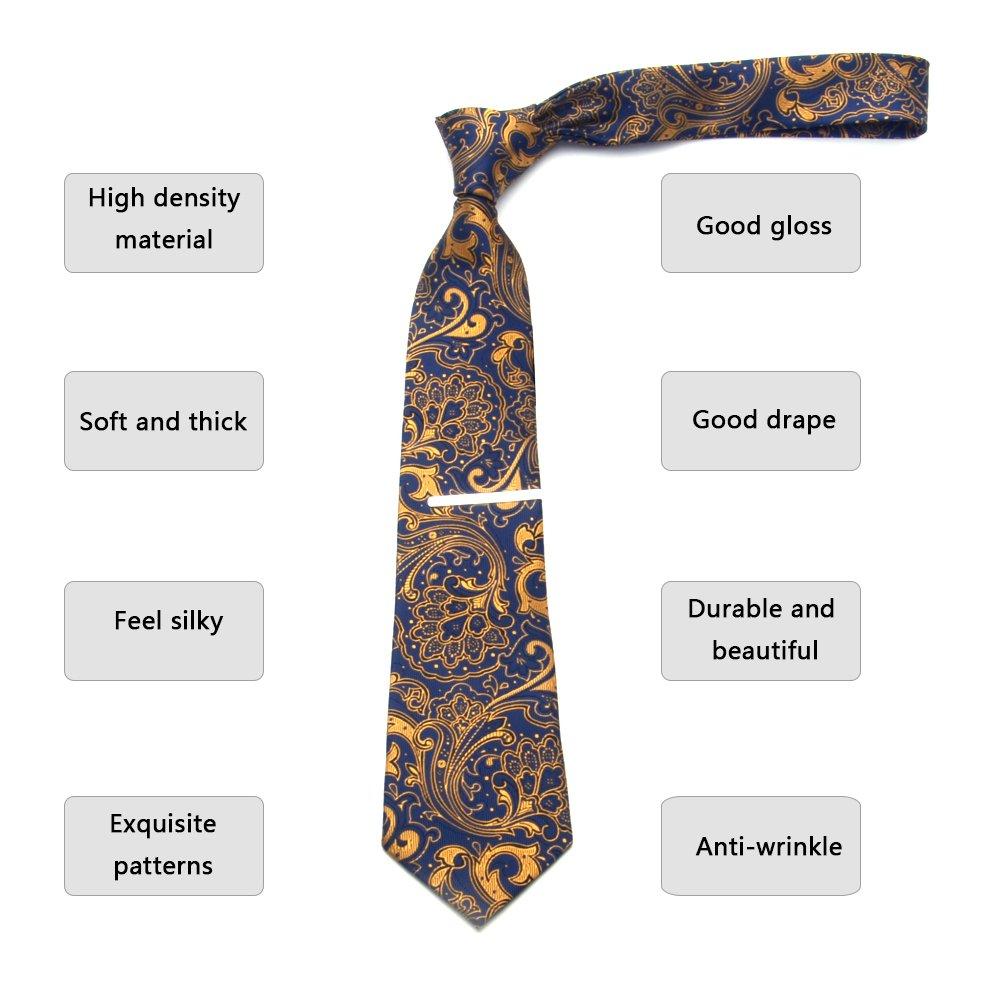 Paisley Ties for Men Jacquard Woven Necktie FXICAI Business Fashion Classic Casual Tie Bar Clip Set (Golden) by FXICAI (Image #3)