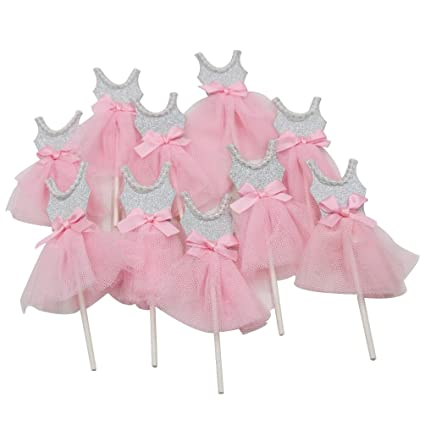 29362f66a14f Amazon.com  Mybbshower Pink Silver Ballerina Cupcake Toppers for ...