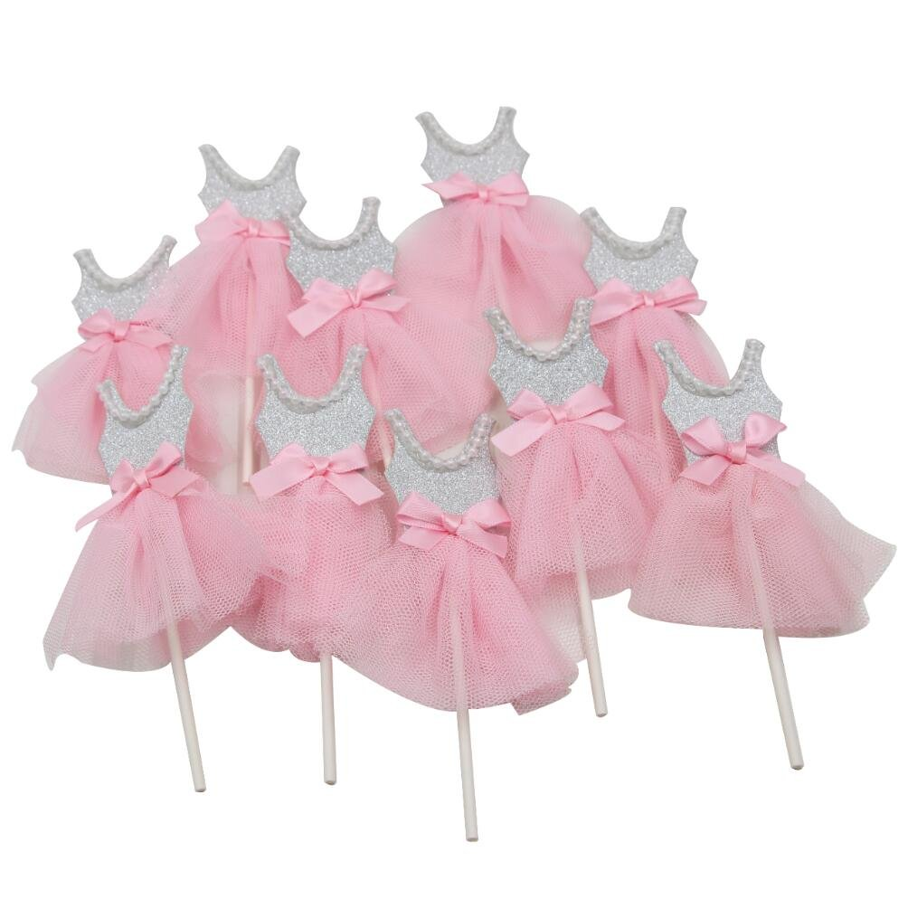 Mybbshower Pink Silver Ballerina Cupcake Toppers for Tutu Party Decorations Pack of 10