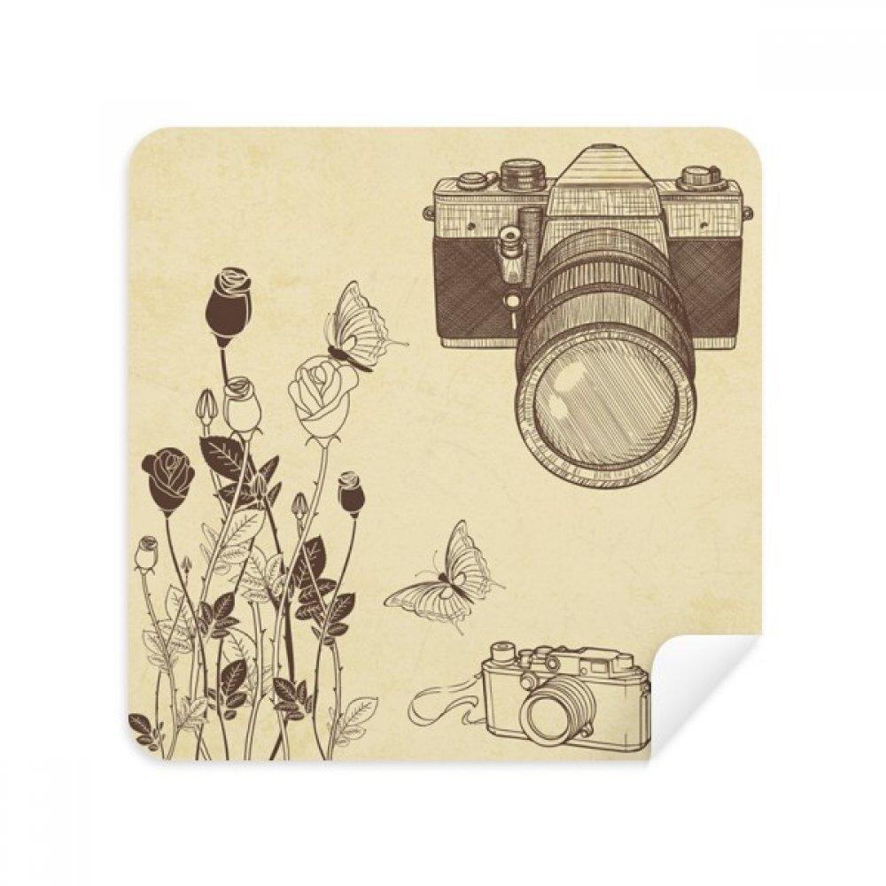 カメラローズバタフライNiceスタイルメガネクリーニングクロス電話画面クリーナースエードファブリック2pcs   B07C97PMS7