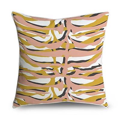 Fabricmcc Rose et Jaune Rayures de zèbre Imprimé animal carré avec accents  décoratifs Couvre-lit c3e20745d611