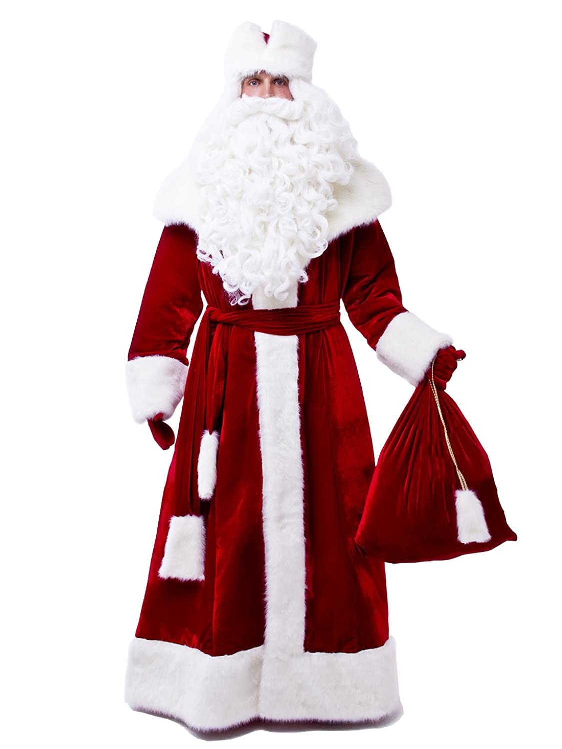 amazoncom russian santa claus suit for adult ded moroz costume christmas father frost outfit red clothing - Santa Claus Coat