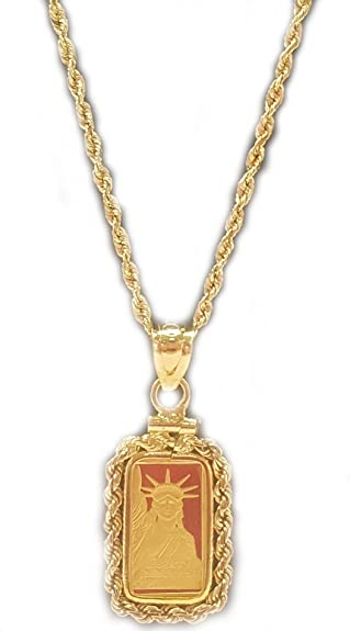 Amazon 14k gold 1 gram credit suisse rope coin bezel pendant 14k gold 1 gram credit suisse rope coin bezel pendant with 16quot 2mm 14k gold aloadofball Image collections