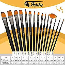 Artify 15 Professional Grade Paint Brush Set for Acrylics Oils Watercolors Gouache and Face Painting| Korean Imported Soft Nylon Hairs| Extra Firm Bristles| Including a Free Carrying Pouch
