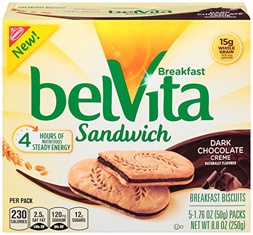 belVita Dark Chocolate Creme Sandwich Breakfast Biscuits, 5Count Box, 8.8 oz (Pack of - Biscuits Breakfast