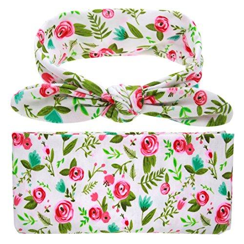 Ufraky Newborn Baby Swaddle Wrap Sleep Blanket with Rabbit Ear Headband Photography Prop (Style 3)