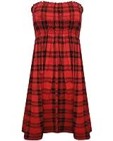 Home of Fashion Red and Black Tartan Print Sleeveless Shearing Bandeau Tunic Top