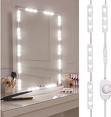 Led Vanity Mirror Light, Viugreum Dimmable 60 LEDs Makeup Mirror Light Kits, 10FT 1200LM Waterproof DIY LED Light Strip Daylight White 6000K with Dimmer for Vanity Table Bathroom Dressing Room
