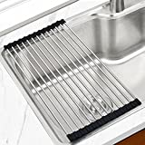 JOMOLA Roll-Up Dish Drying Rack,SUS304 Stainless Steel, Foldable Sink Shelf, Storage Mat And Fruit Vegetable Washing and Cake Holder