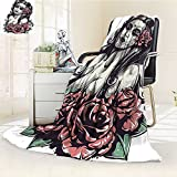 YOYI-HOME Silky Soft Plush Warm Duplex Printed Blanket Girl with Roses Mexican Sugar Skull Makeup Aztec Culture Goddess Zombie Concept Black Pink Anti-Static,2 Ply Thick,Hypoallergenic/W86.5'' x H59