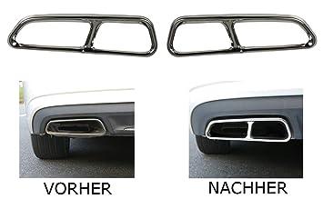 Embellecedor de tubo de escape de acero inoxidable cromado, cubierta izquierda + derecha para A6 A7 C7: Amazon.es: Coche y moto