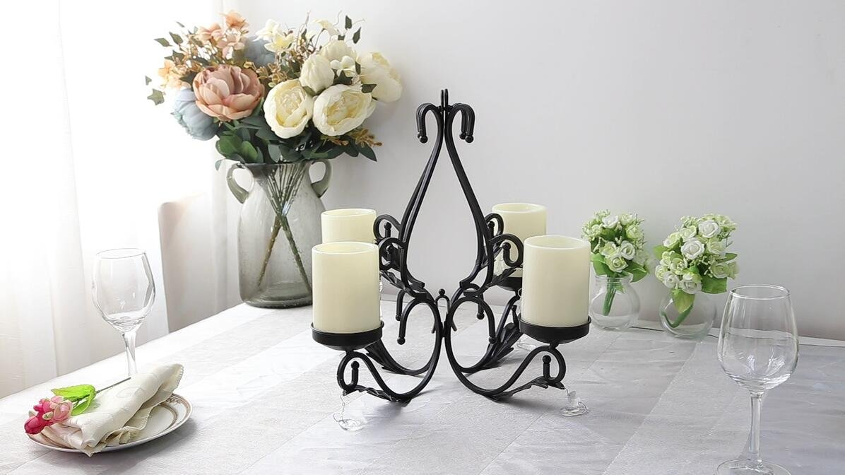GiveU 3 IN 1 Lighting Chandelier, Metal Wall Sconce Set of 2, Table Centerpiece for Indoor or Outdoor, Chain and Candles Included, Black by GiveU (Image #6)