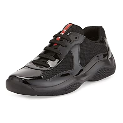 ee18d689134ce Prada Patent Leather America s Cup Mesh Black Trainers 8.5  Amazon ...