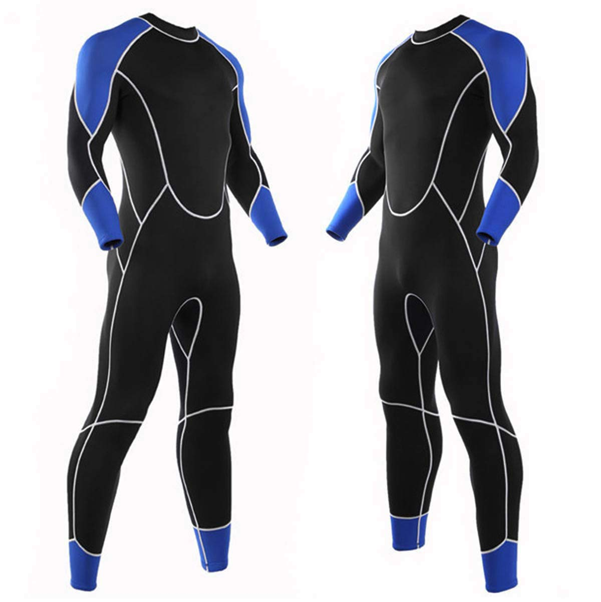 Niiwi Men Full Wetsuit - 2.5mm Premium Neoprene Diving Suit Snorkeling Surfing Jumpsuit (Blue/Black, M)