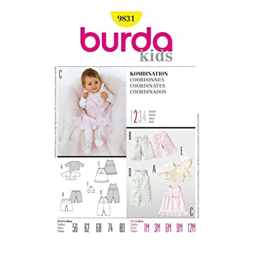 Burda Schnittmuster 9831 Baby-Kombination Gr. 56-80: Amazon.de ...
