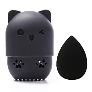 [Allure & Co.] Soft Makeup Sponge and Cute Cat Shaped Container Set - Travel Case for Beauty Blender (Black)
