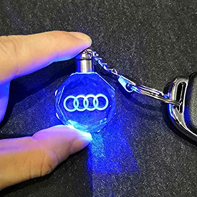 VILLSION LED Car Logo Keychain Key Chain Multicolor Crystal Light Keyring with Gift Box: Automotive