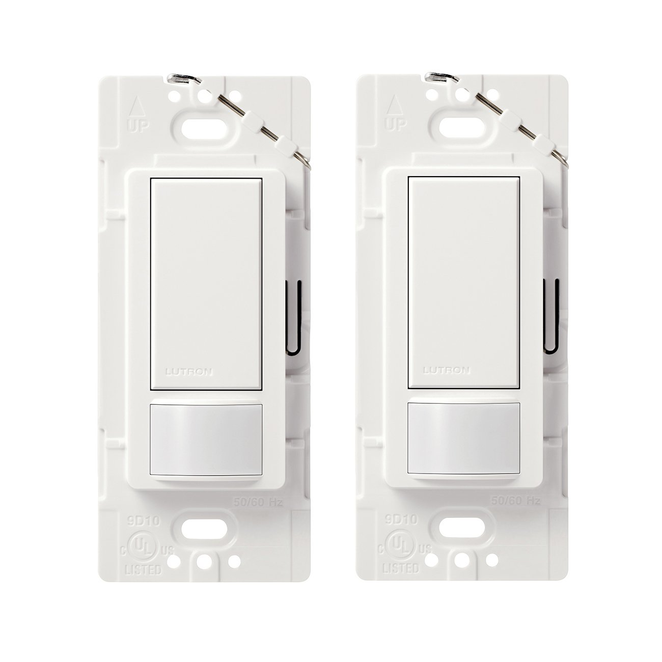 Lutron Maestro Sensor switch (2-Pack), 2A, No Neutral Required, Single-Pole, MS-OPS2-WH, White