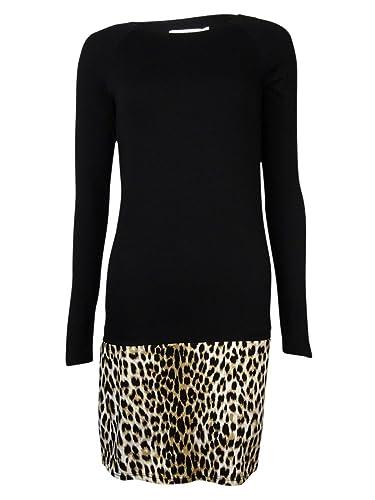 Ali & Jay Women's 'Dena' Leopard Hem Long Sleeves Knit Dress