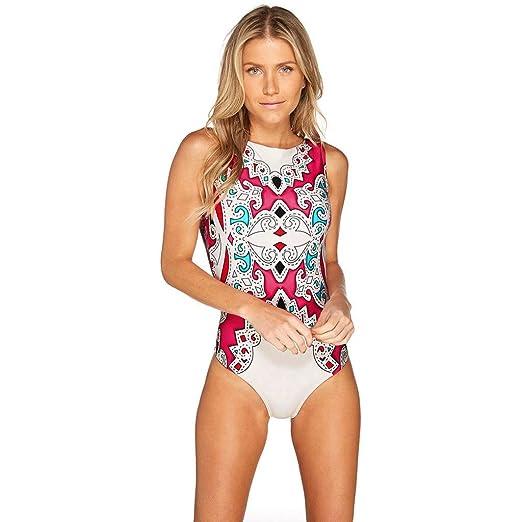 e326b8c2712fe Sttech1 Women s Print Bikini One Piece Swimwear Bathing Suits Retro Low  Back Bikini Swimsuit Beachwear at Amazon Women s Clothing store