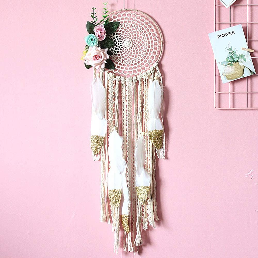 MoonFly Dream Catcher Handmade Traditional Feather Dreamcatcher Hanging Home Wall Decoration Craft Ornament for Home Flower Girls Native American Style D/écor Kids Bedroom