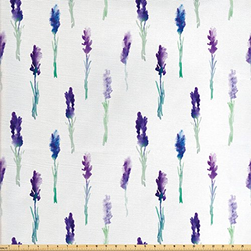 Springtime Accent - Lunarable Lavender Fabric by the Yard, Abstract Watercolor Art Style Flowers on Stems Springtime Nature, Decorative Fabric for Upholstery and Home Accents, Purple Turquoise Navy Blue