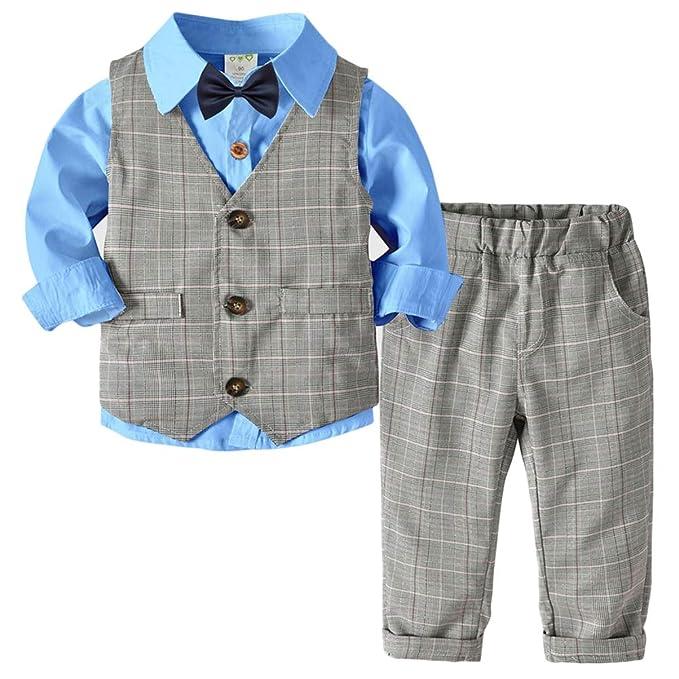 QitunC Bebé Niño Conjunto Gentleman Ropa Bowtie Camisa + Chaleco + ...