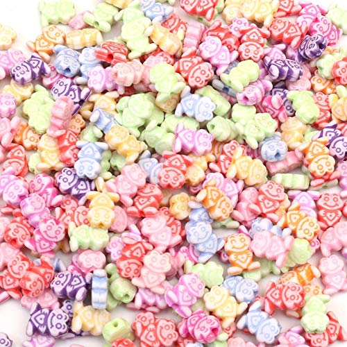 Calvas 200Pcs Mixed Frog Acrylic Beads 10X8mm for Jewellery Marking Loose Spacer Beads Bracelet Necklace Charm Jewelry Finding