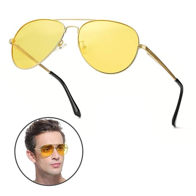 Gafas de Sol Polarizadas Aviador Lente HD Amarillas Gafas Conducir para Hombre y Mujer 100%