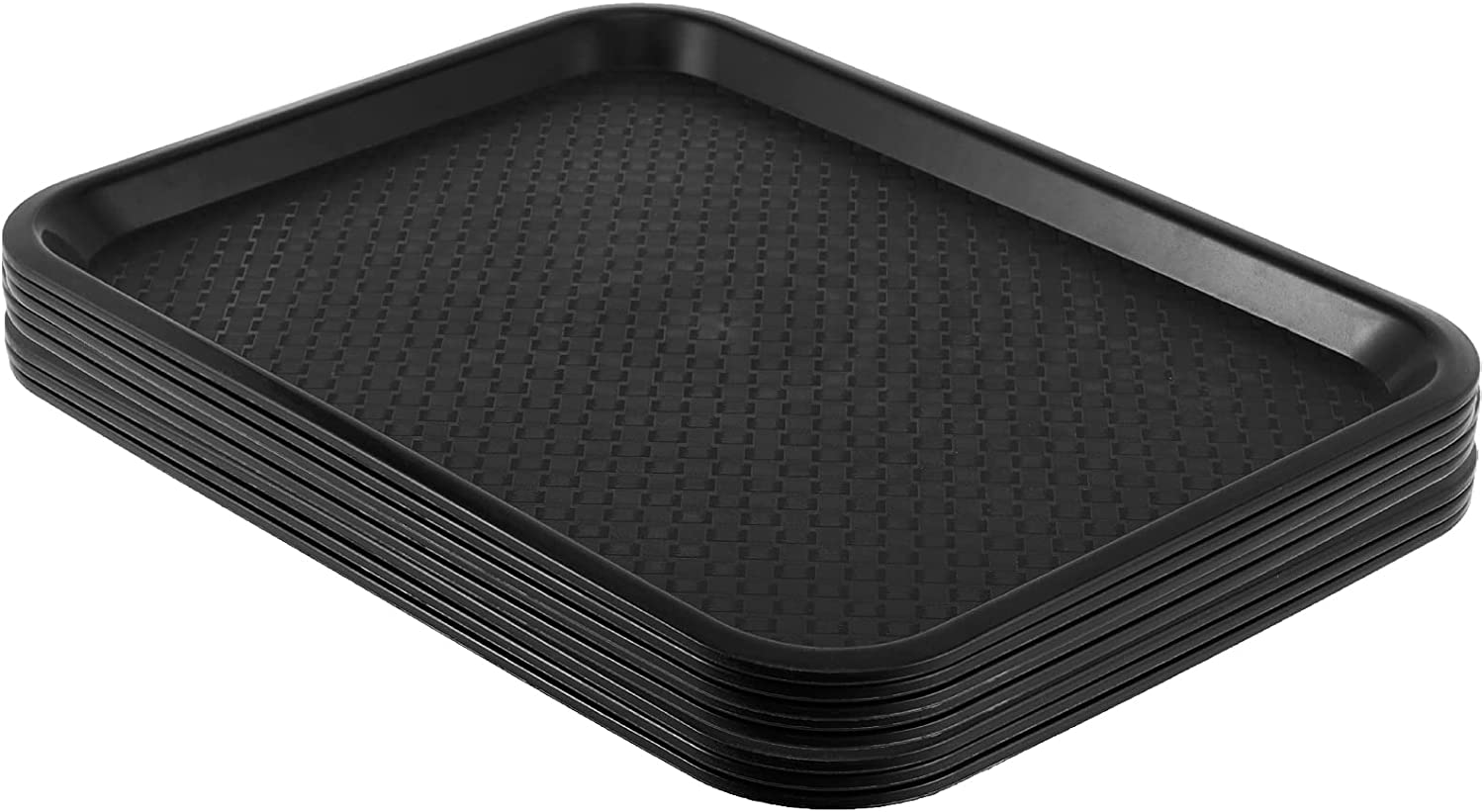 SHEUTSAN 8 Packs 12 x 16 Inches Plastic Fast Food Trays, Non-Slip Rectangular Restaurant Cafeteria Serving Trays, Sturdy Black Storage Trays Food Service Trays, for Household and Business Use
