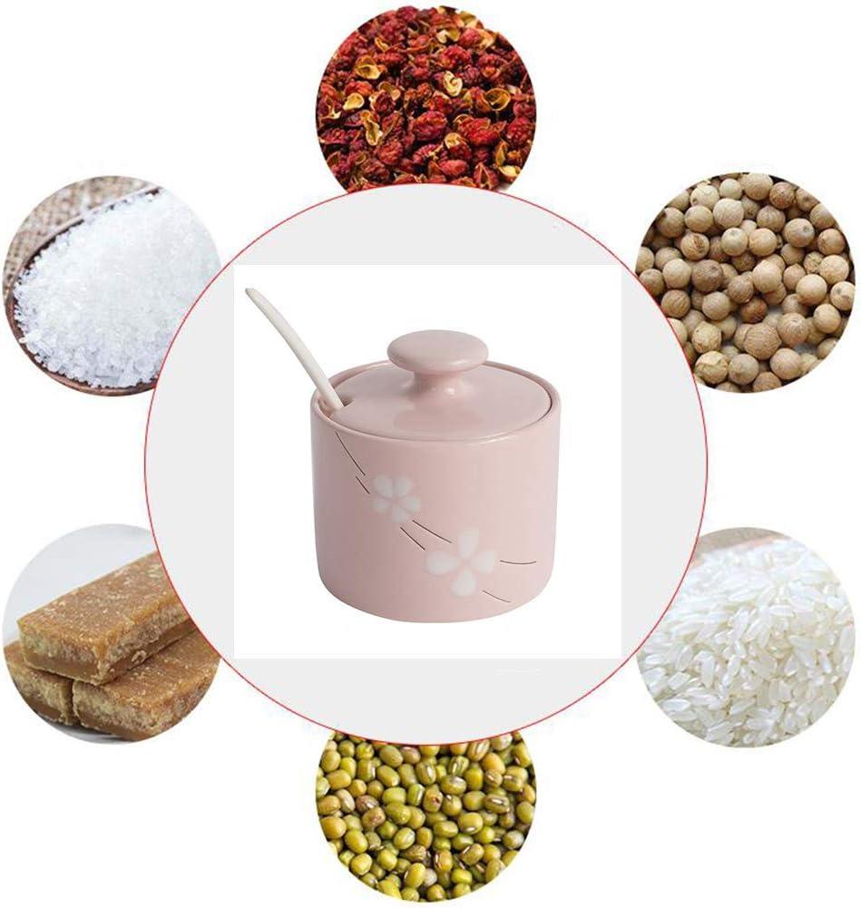 LICEA C/éramique Sucrier avec Lid,Pots /à /épices Floral Pots /à /épices Porcelaine Pot De Condiment Pas-Glisser Base pour Sel Sucre /Épices Poivre Rose 270ml