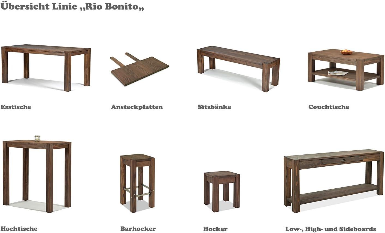 Sitzgruppe Rio Bonito Farbton Cognac braun mit Esstisch 140x80cm + 2x Sitzbank 140x38cm Pinie Massivholz geölt und gewachst Tisch und Bank, Optional: