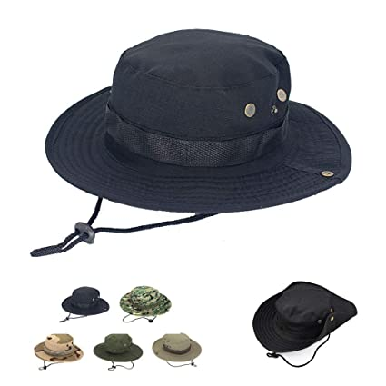 96731b59 ... Cap Camo Bucket Hat, Breathable Fishing Hats Packable Army Tactical  Safari Sun Hat Visor with Wide Brim Chin Strap Outdoor Military Hat for Men  Women ...